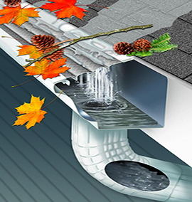 gutter with gutter guard and leaves