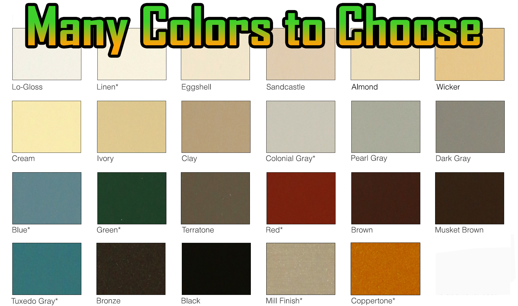 Many Colors To Choose for Seamless Gutters color Chart mini